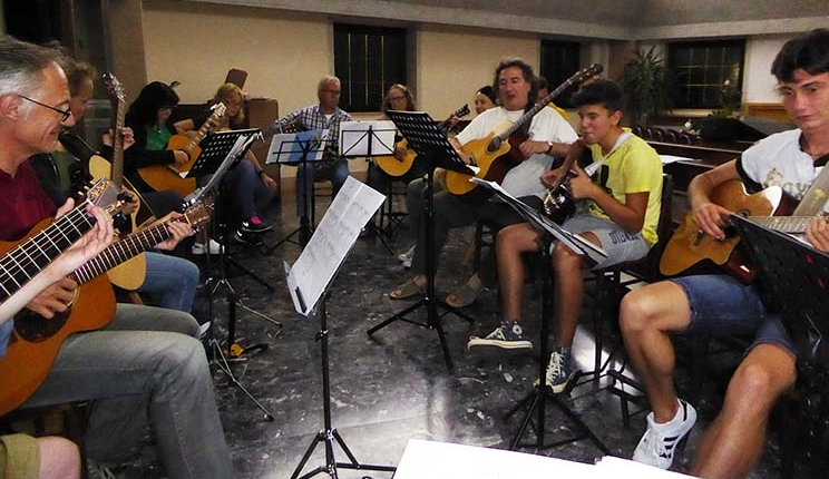 Franco Morone Annual guitar workshop at Malosco 2016 - rehearsals