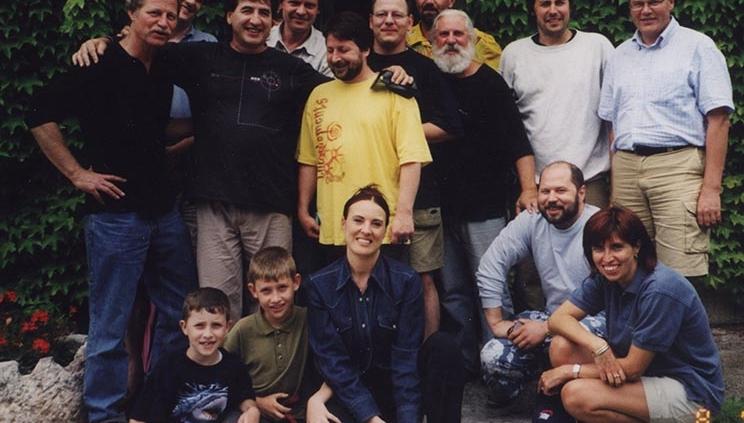 I partecipanti del corso di chitarra acustica fingerstyle con Franco Morone a Pesina (Vr) nel 2002