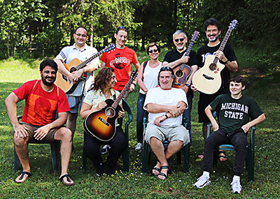 Group of studens of the fnnual fingerstyle guitar course with Franco Morone in Trentino - 2019