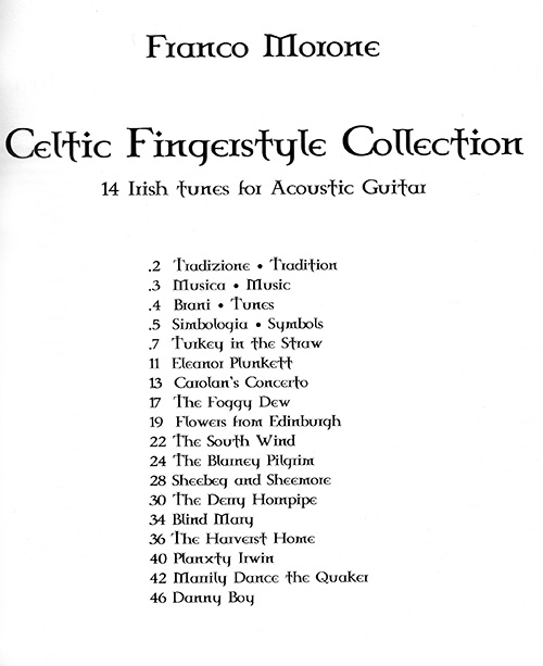 Franco Morone - Celtic Fingerstyle Collection book - Index